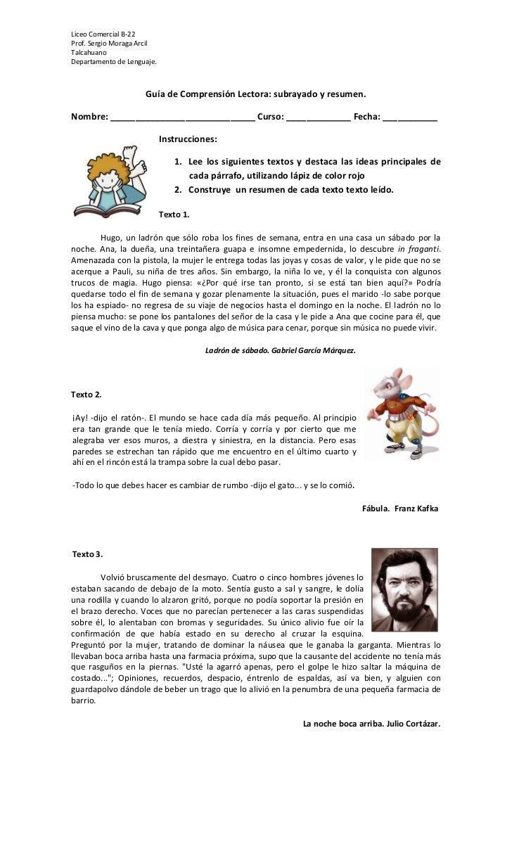 Liceo Comercial B-22Prof. Sergio Moraga ArcilTalcahuanoDepartamento de Lenguaje.                     Guía de Comprensión L...