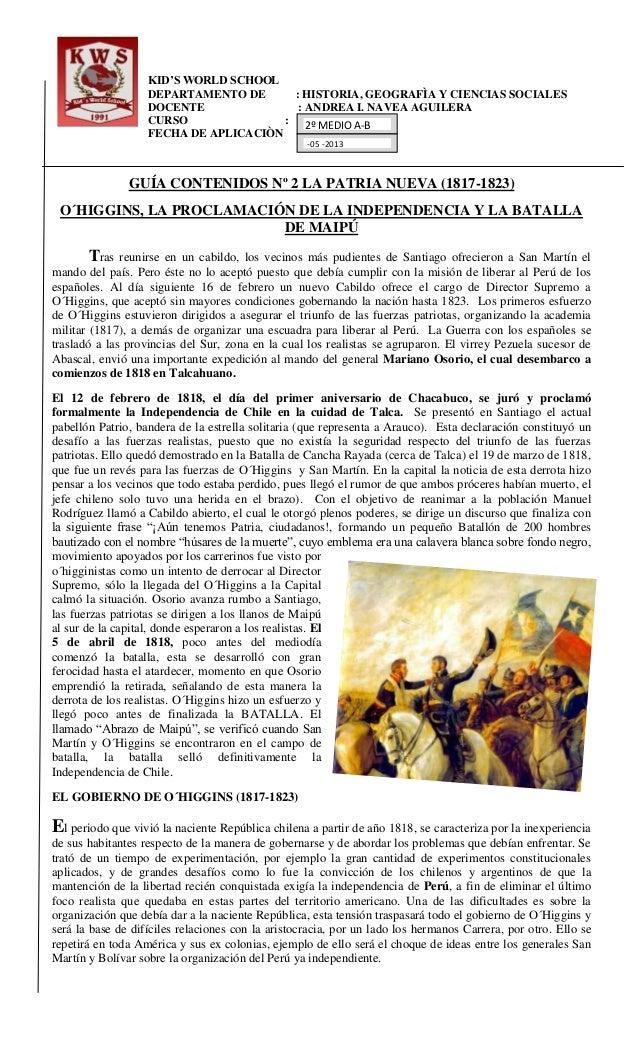 KID'S WORLD SCHOOLDEPARTAMENTO DE : HISTORIA, GEOGRAFÌA Y CIENCIAS SOCIALESDOCENTE : ANDREA I. NAVEA AGUILERACURSO :FECHA ...