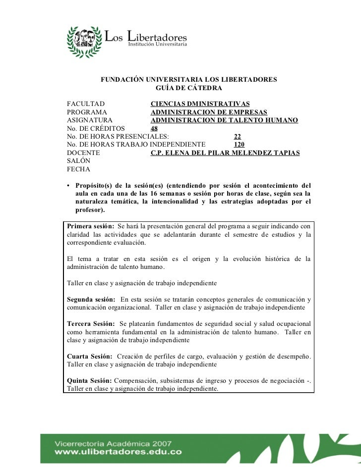 FUNDACIÓN UNIVERSITARIA LOS LIBERTADORES                       GUÍA DE CÁTEDRAFACULTAD             CIENCIAS DMINISTRATIVAS...