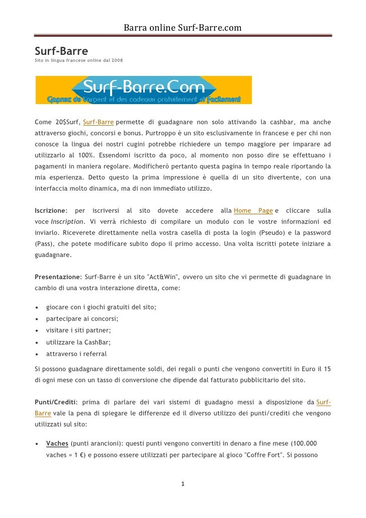 Barra online Surf-Barre.comSurf-BarreSito in lingua francese online dal 2008Come 20$Surf, Surf-Barre permette di guadagnar...