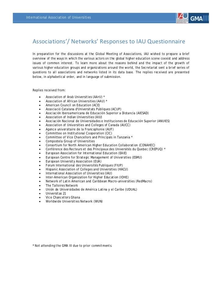 International Association of Universities                                                                                 ...