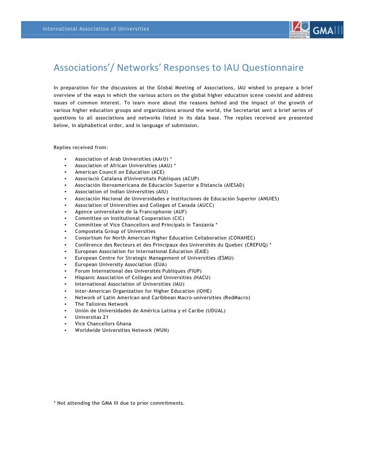 Associations'/ Networks' Responses to IAU Questionnaire<br />In preparation for the discussions at the Global Meeting of A...