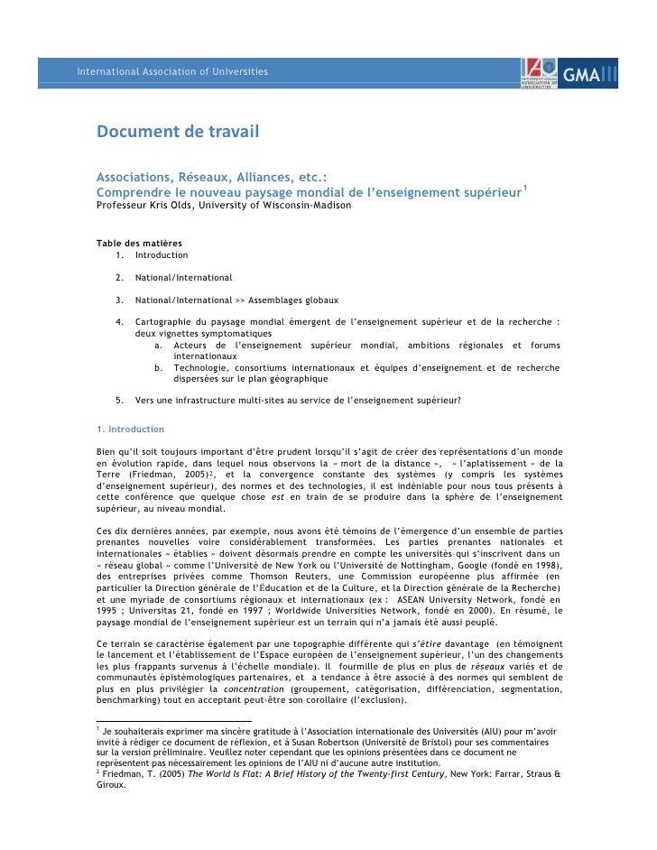 Document de travail<br />Associations, Réseaux, Alliances, etc.:<br />Comprendre le nouveau paysage mondial de l'enseignem...