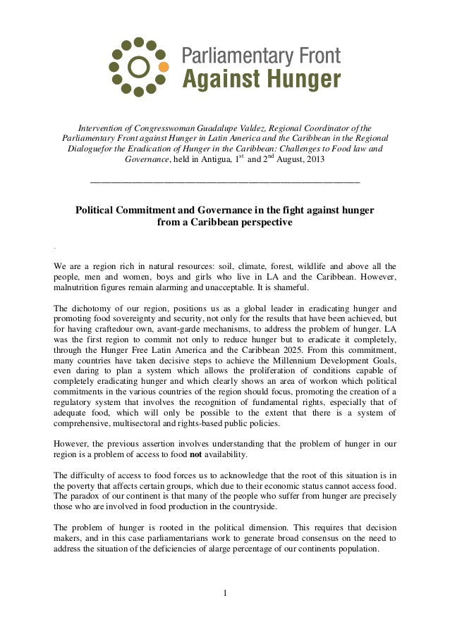 1 Intervention of Congresswoman Guadalupe Valdez, Regional Coordinator of the Parliamentary Front against Hunger in Latin ...