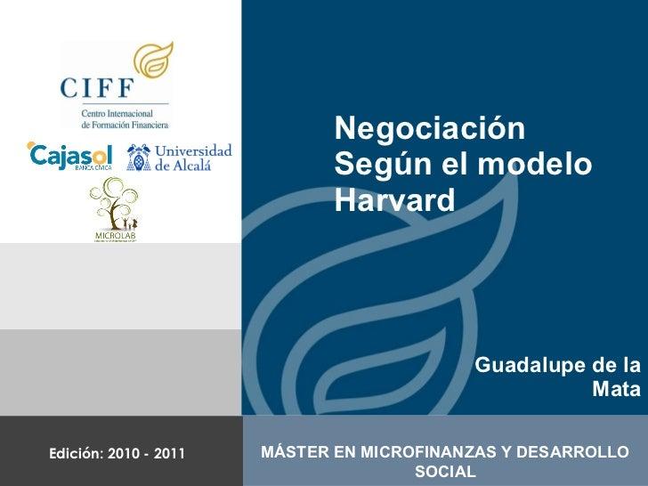 Negociación Según el modelo Harvard Guadalupe de la Mata