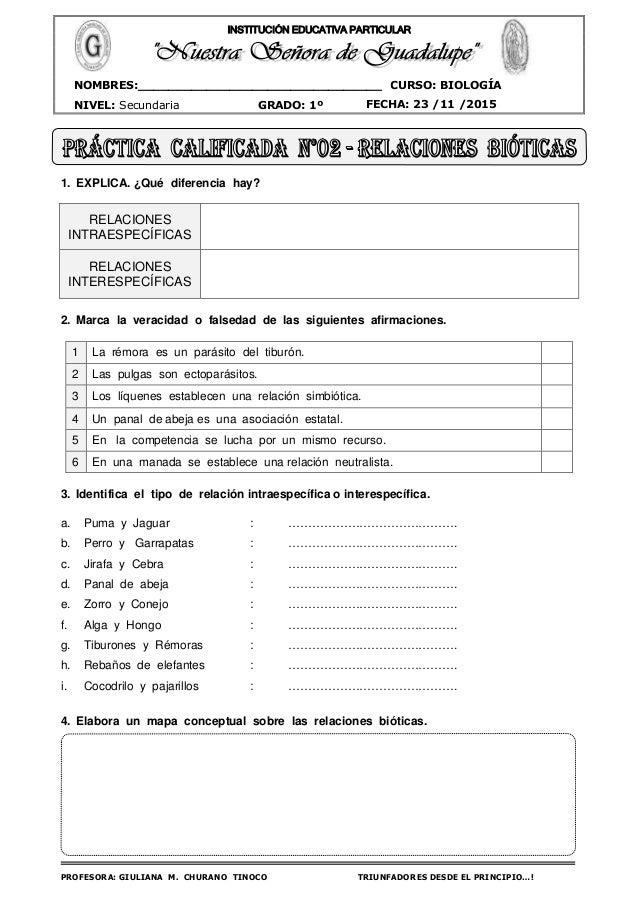 PROFESORA: GIULIANA M. CHURANO TINOCO TRIUNFADORES DESDE EL PRINCIPIO…! CURSO: BIOLOGÍA NIVEL: Secundaria GRADO: 1º FECHA:...