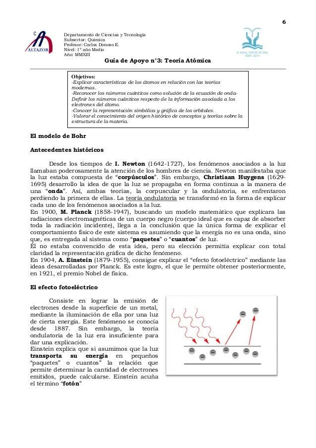 Guía De Apoyo N 2 Q1 M 2012 En La Senda Del átomo Moderno