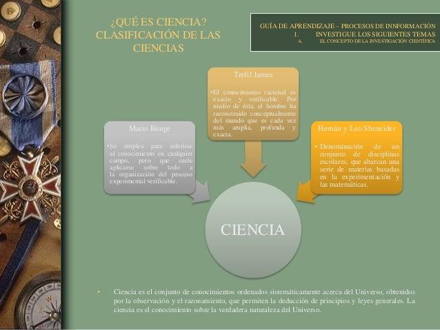 ¿QUÉ ES CIENCIA? CLASIFICACIÓN DE LAS CIENCIAS • Ciencia es el conjunto de conocimientos ordenados sistemáticamente acerca...