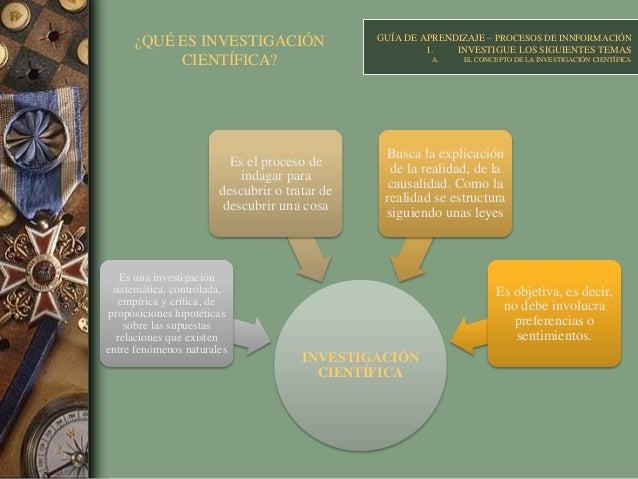 ¿QUÉ ES INVESTIGACIÓN CIENTÍFICA? GUÍA DE APRENDIZAJE – PROCESOS DE INNFORMACIÓN 1. INVESTIGUE LOS SIGUIENTES TEMAS A. EL ...