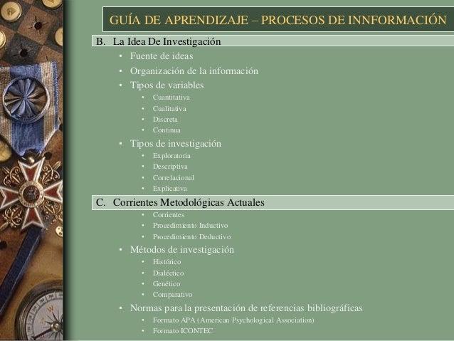 GUÍA DE APRENDIZAJE – PROCESOS DE INNFORMACIÓN B. La Idea De Investigación • Fuente de ideas • Organización de la informac...
