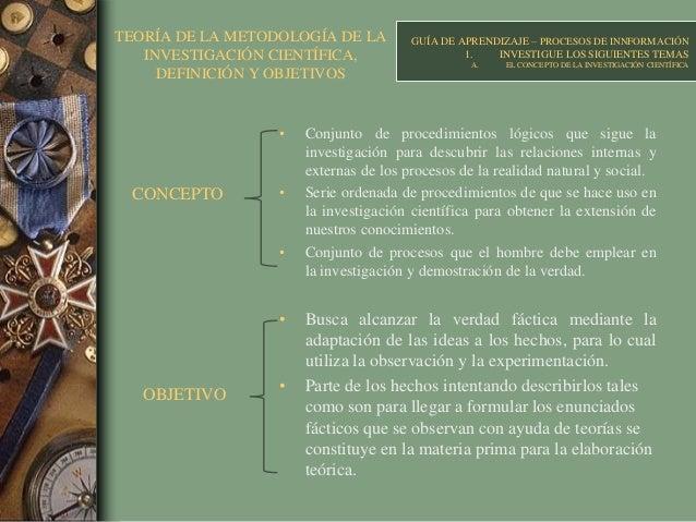 TEORÍA DE LA METODOLOGÍA DE LA INVESTIGACIÓN CIENTÍFICA, DEFINICIÓN Y OBJETIVOS • Conjunto de procedimientos lógicos que s...