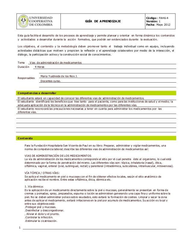 GUÍA DE APRENDIZAJE  Código: FAH6-4  Versión: 1  Fecha: Mayo 2012  Esta guía facilita el desarrollo de los procesos de apr...