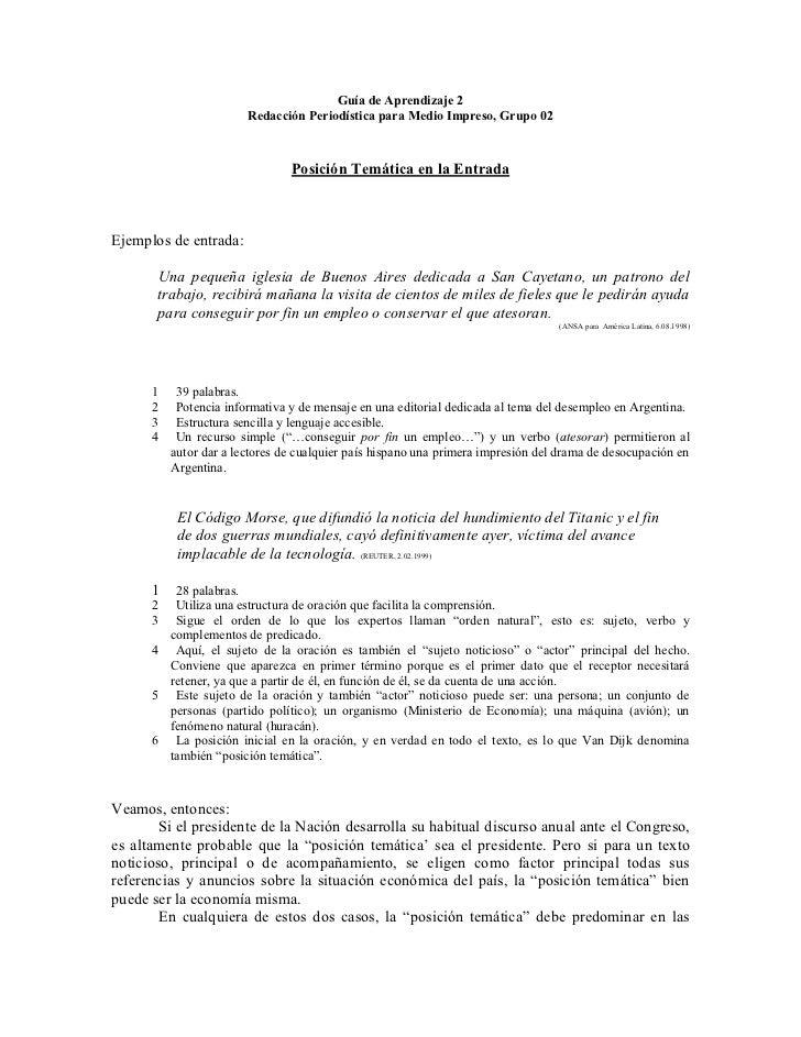 Guía de Aprendizaje 2                        Redacción Periodística para Medio Impreso, Grupo 02                          ...