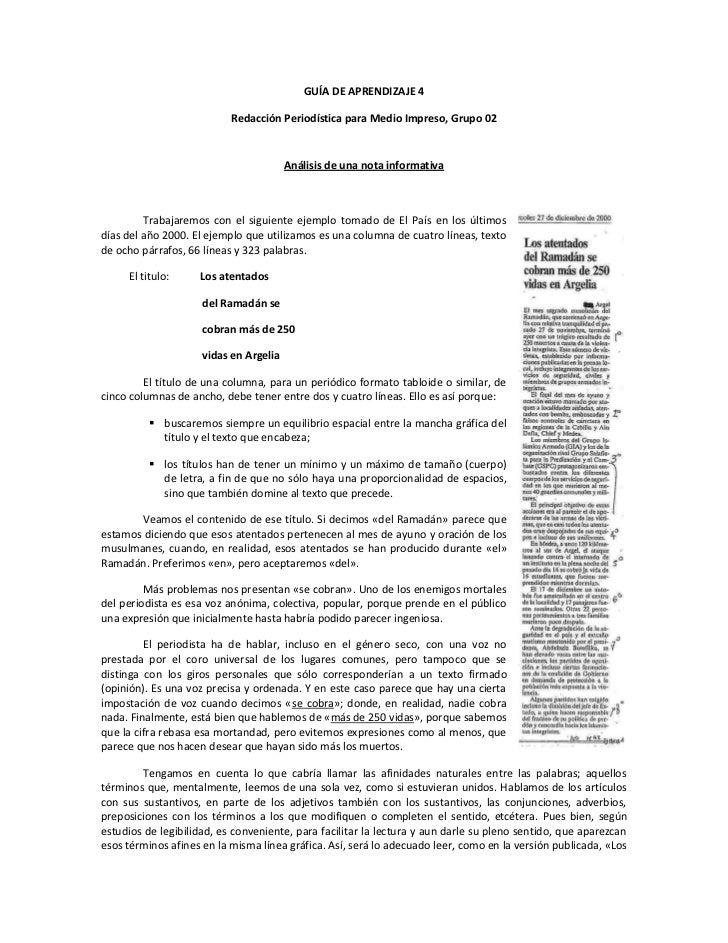 GUÍA DE APRENDIZAJE 4                             Redacción Periodística para Medio Impreso, Grupo 02                     ...