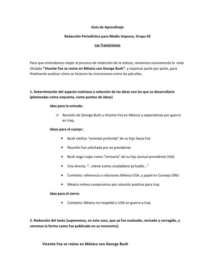 Guía de Aprendizaje                       Redacción Periodística para Medio Impreso, Grupo 02                             ...