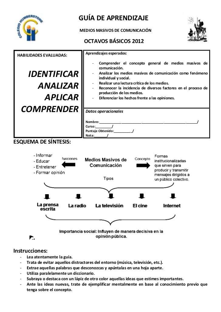 GUÍA DE APRENDIZAJE                                MEDIOS MASIVOS DE COMUNICACIÓN                                  OCTAVOS...