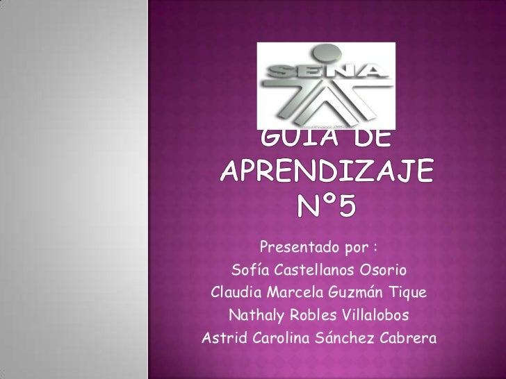 Guía de aprendizaje nº5<br />Presentado por :<br />Sofía Castellanos Osorio<br />Claudia Marcela Guzmán Tique<br />Nathaly...