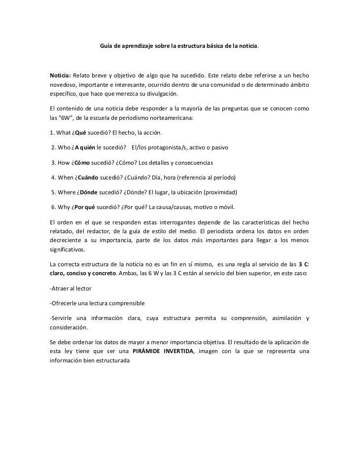 Guía De Aprendizaje Sobre La Estructura Básica De La Noticia