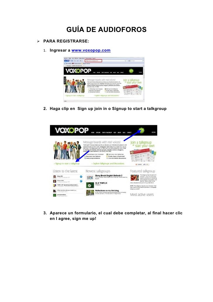 GUÍA DE AUDIOFOROS  PARA REGISTRARSE:    1. Ingresar a www.voxopop.com       2. Haga clip en Sign up join in o Signup to ...