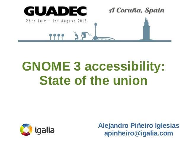 GNOME 3 accessibility: State of the union  Alejandro Piñeiro Iglesias apinheiro@igalia.com