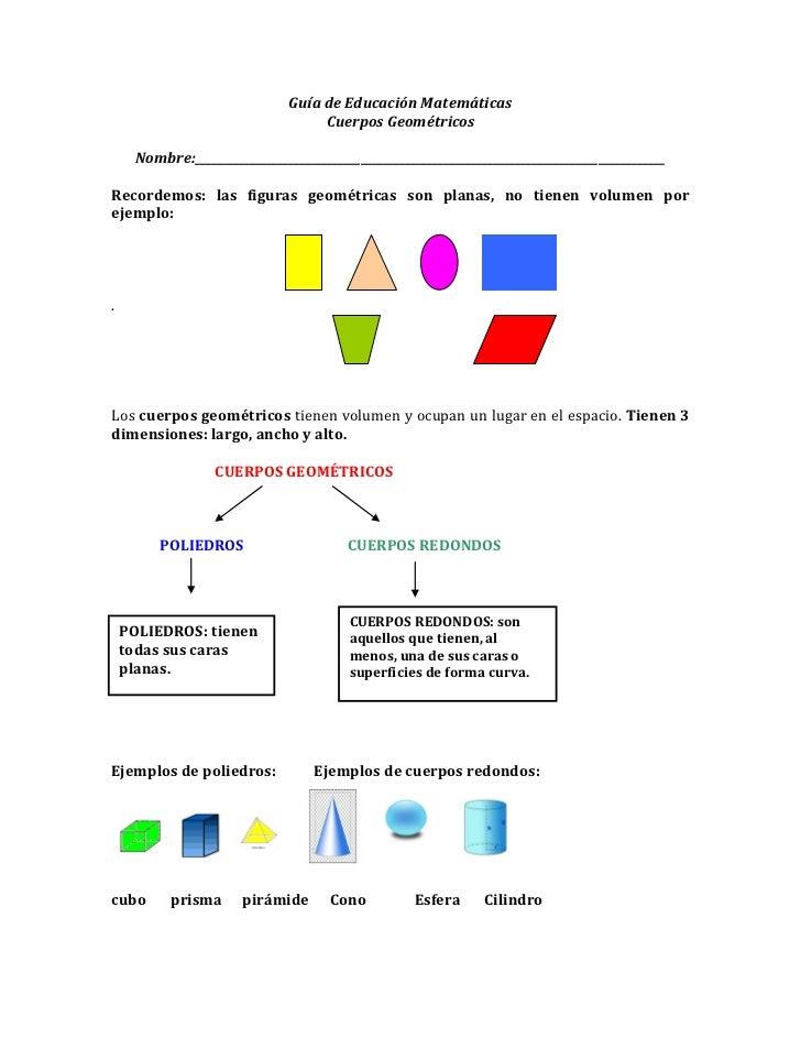 Guía de Educación Matemáticas                                    Cuerpos Geométricos     Nombre:__________________________...