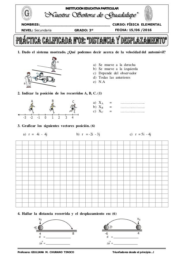 Profesora: GIULIANA M. CHURANO TINOCO Triunfadores desde el principio…! CURSO: FÍSICA ELEMENTAL NIVEL: Secundaria GRADO: 3...