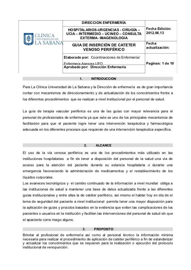 DIRECCION ENFERMERÍA                             HOSPITALARIOS-URGENCIAS - CIRUGÍA –                 Fecha Edición:       ...