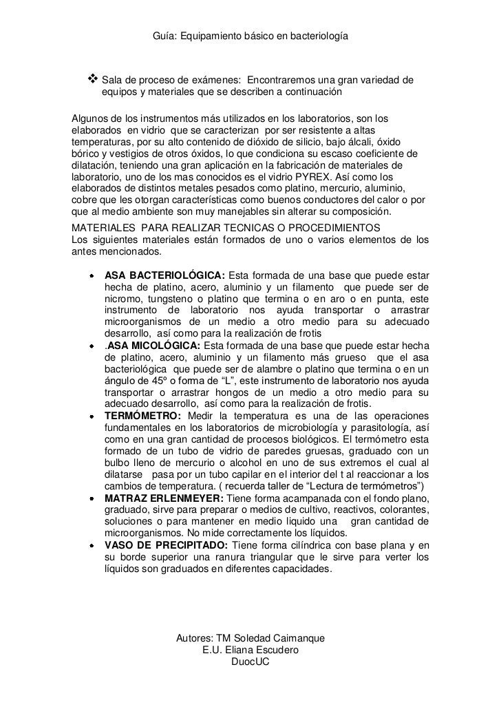 Guía: Equipamiento básico en bacteriología    Sala de proceso de exámenes:    Encontraremos una gran variedad de      equ...