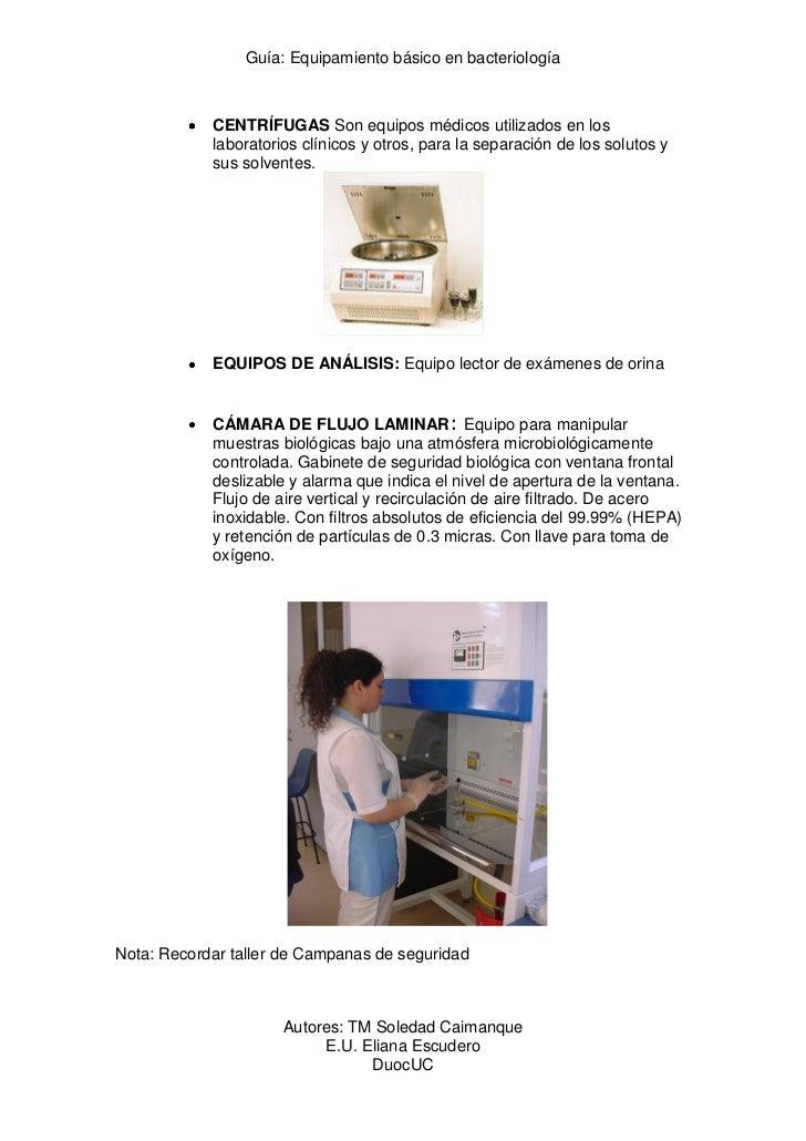 Guía: Equipamiento básico en bacteriología            CENTRÍFUGAS Son equipos médicos utilizados en los            laborat...