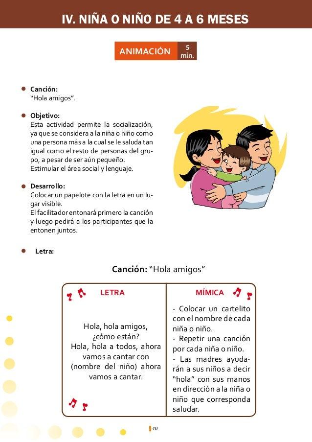IV. NIÑA O NIÑO DE 4 A 6 MESES                                ACTIVIDAD                            ÁREA DE                ...