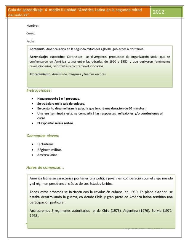 """Guía de aprendizaje 4 medio II unidad """"América Latina en la segunda mitad                                                 ..."""