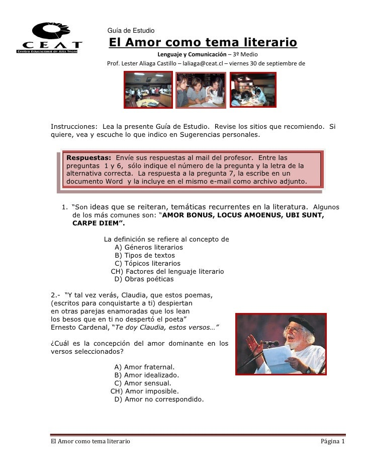 Guía de Estudio                   El Amor como tema literario                                       Lenguaje y Comunicació...