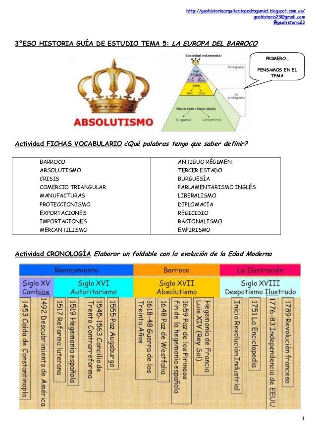 http://geohistoriaarquitectopedrogumiel.blogspot.com.es/ geohistoria23@gmail.com @geohistoria23 1 3ºESO HISTORIA GUÍA DE E...