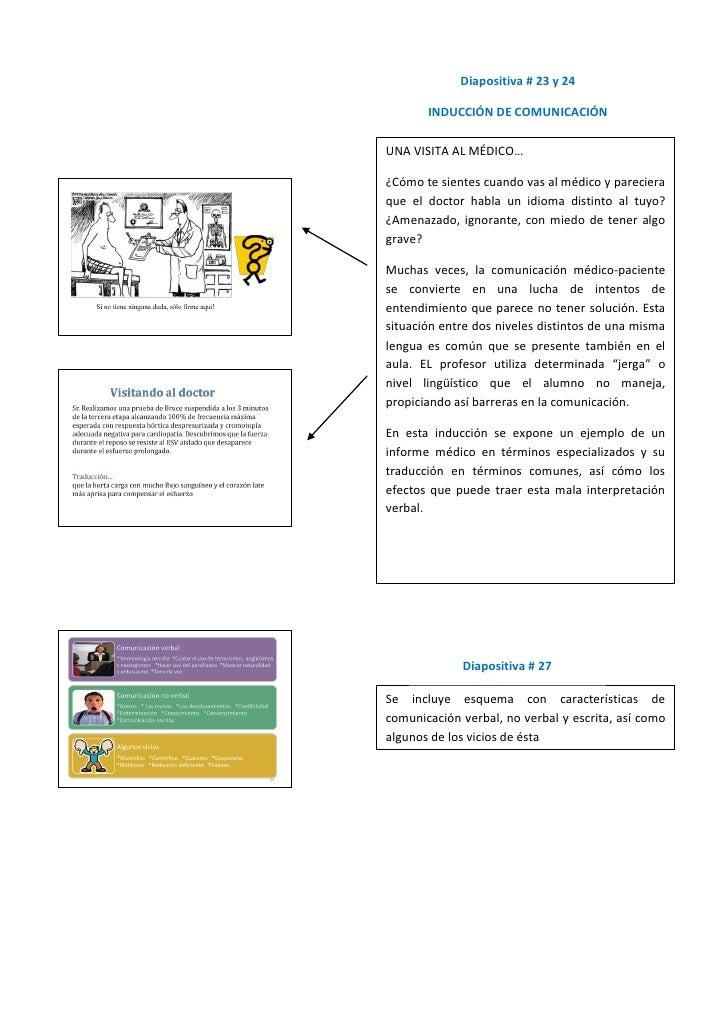 Diapositiva # 23 y 24         INDUCCIÓN DE COMUNICACIÓN  UNA VISITA AL MÉDICO…  ¿Cómo te sientes cuando vas al médico y pa...