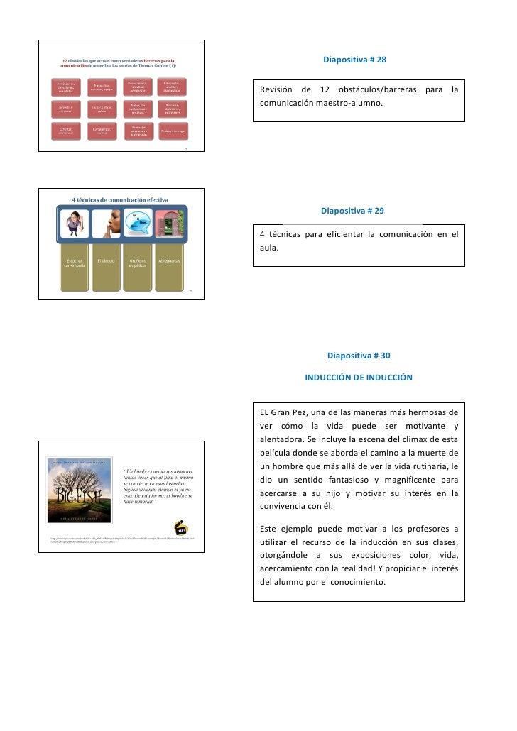 Diapositiva # 28   Revisión de 12 obstáculos/barreras para la comunicación maestro-alumno.                    Diapositiva ...