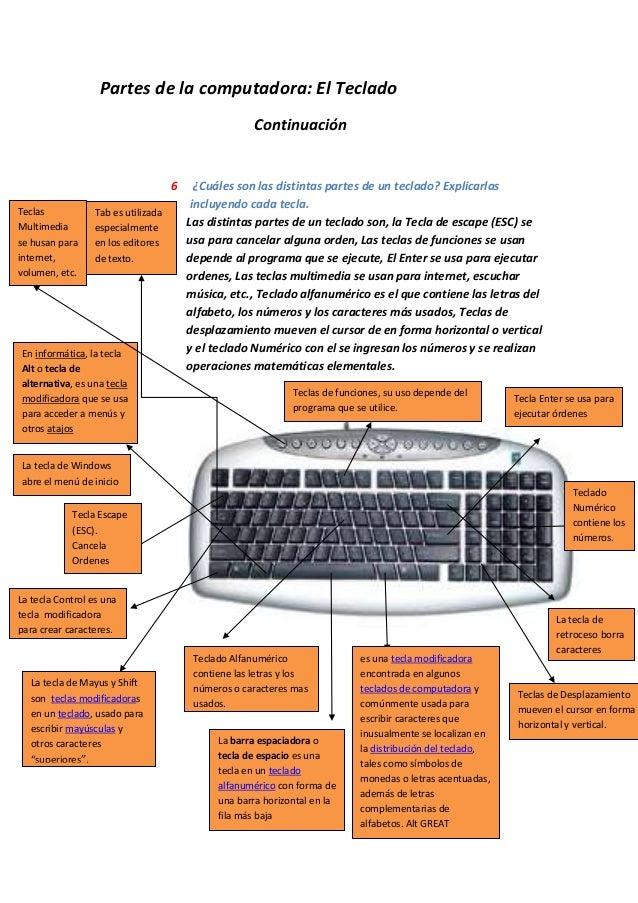 Partes de la computadora: El Teclado Continuación 6 ¿Cuáles son las distintas partes de un teclado? Explicarlas incluyendo...