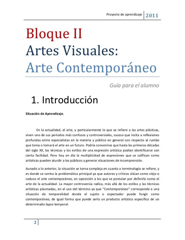 Gu A Del Alumno Proyecto Arte Contempor Neo