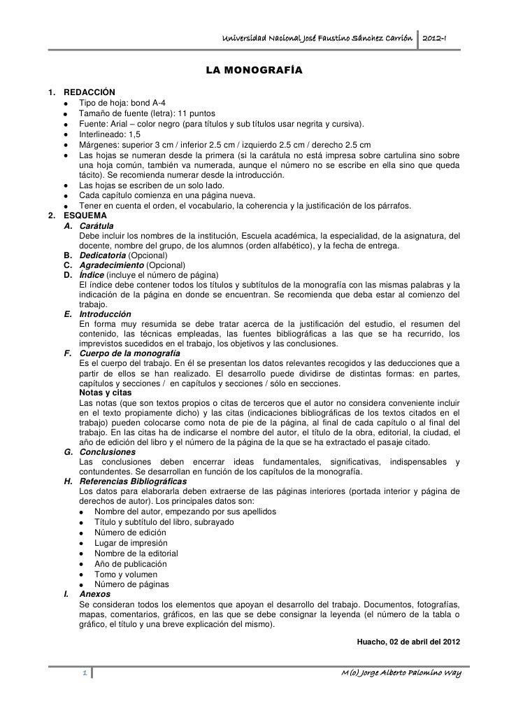 Universidad Nacional José Faustino Sánchez Carrión    2012-I                                          LA MONOGRAFÍA1. REDA...