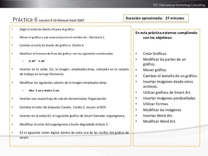 Duración aproximada: 27 minutosPráctica 6 Lección 9-10 Manual Excel 2007•   Elegir el estilo de diseño 20 para el gráfico....