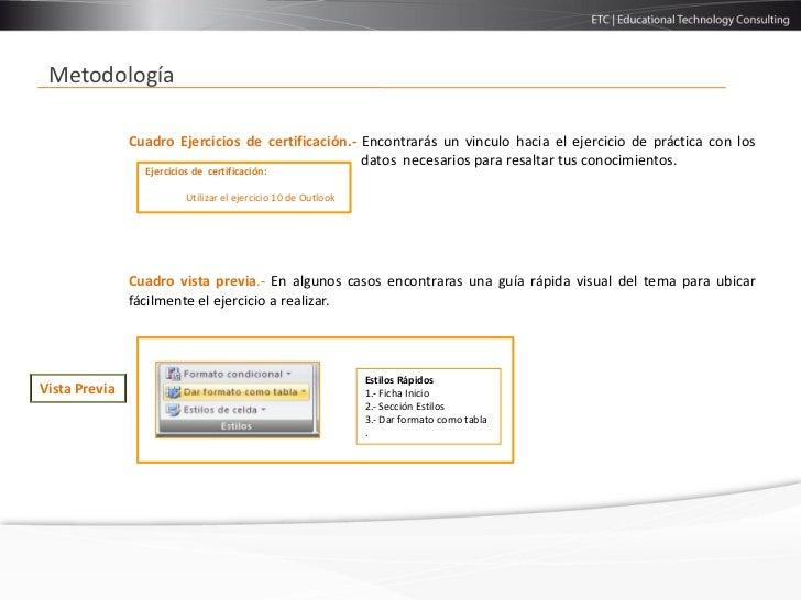 Metodología               Cuadro Ejercicios de certificación.- Encontrarás un vinculo hacia el ejercicio de práctica con l...