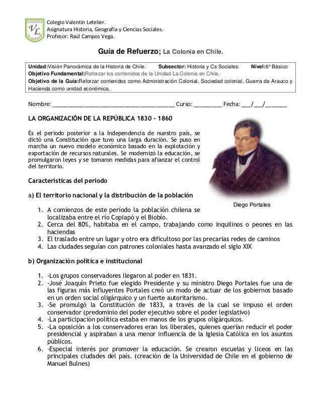 Colegio Valentín Letelier.       Asignatura Historia, Geografía y Ciencias Sociales.       Profesor: Raúl Campos Vega.    ...