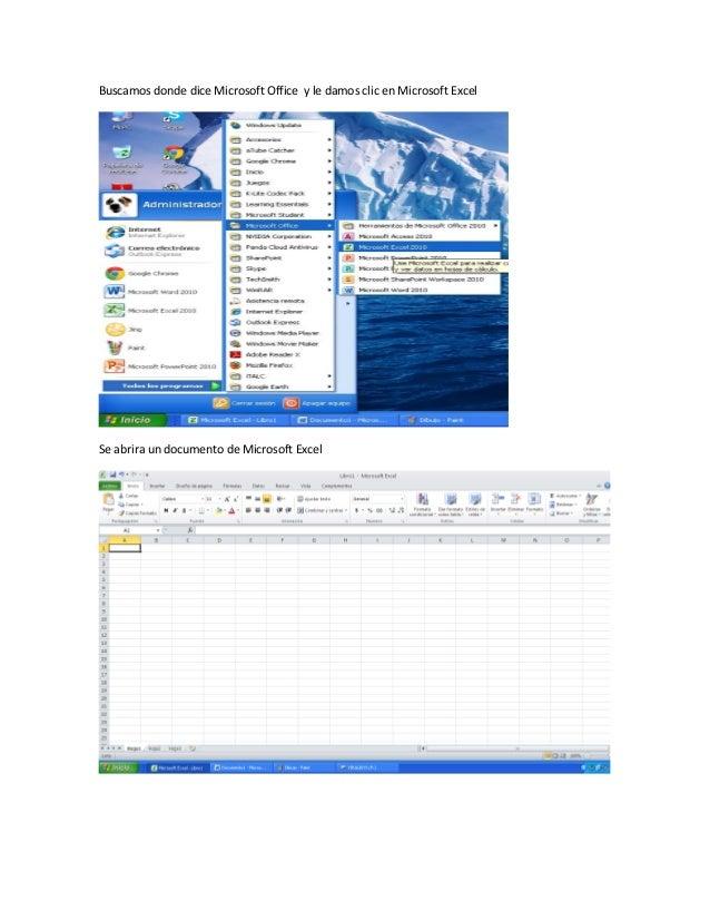 Buscamos donde dice Microsoft Office y le damos clic en Microsoft Excel Se abrira un documento de Microsoft Excel