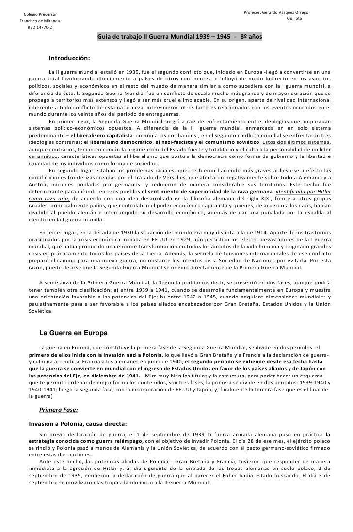Colegio Precursor                                                                        Profesor: Gerardo Vásquez Orrego ...