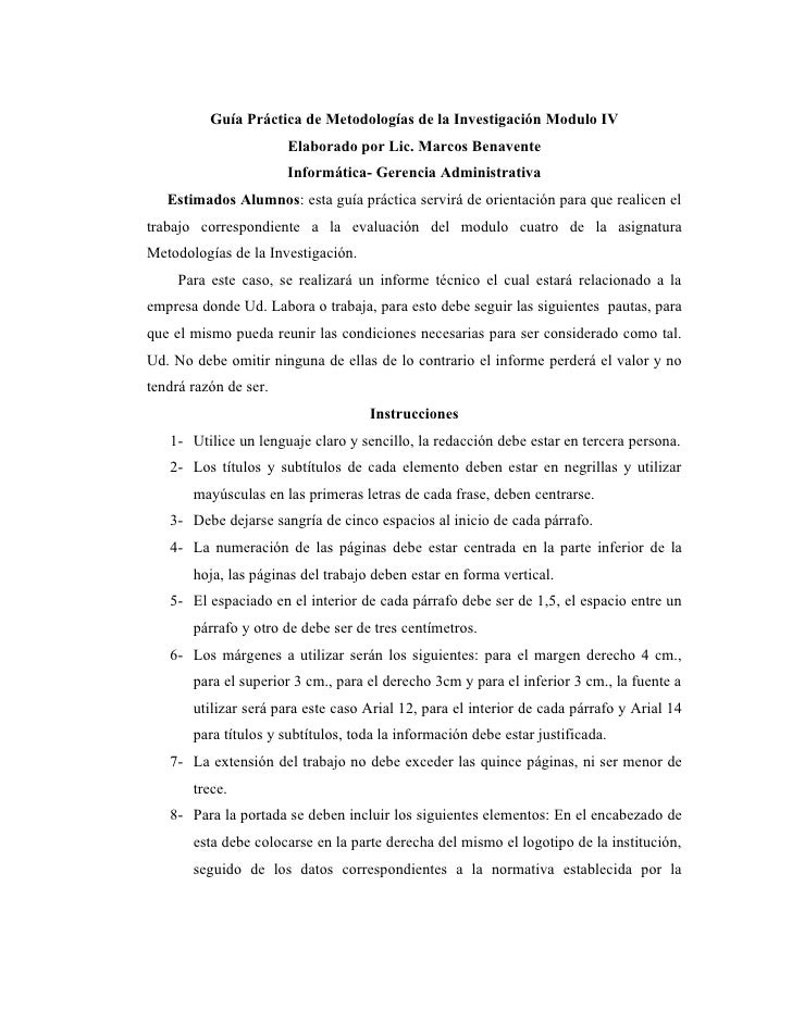 Guía Práctica de Metodologías de la Investigación Modulo IV                        Elaborado por Lic. Marcos Benavente    ...