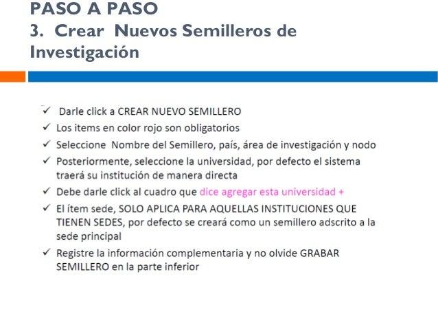 PASO A PASO 3. Crear participantes en los Semilleros de Investigación
