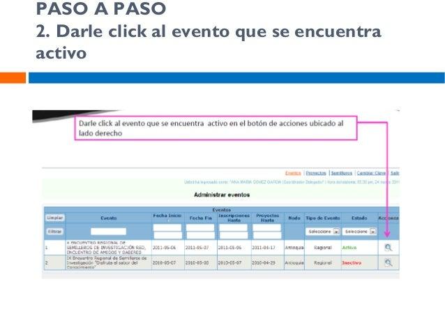 PASO A PASO 3. Asignar proyectos al Evento  Aquí Ud puede visualizar todos los proyectos que han estado registrados en el ...