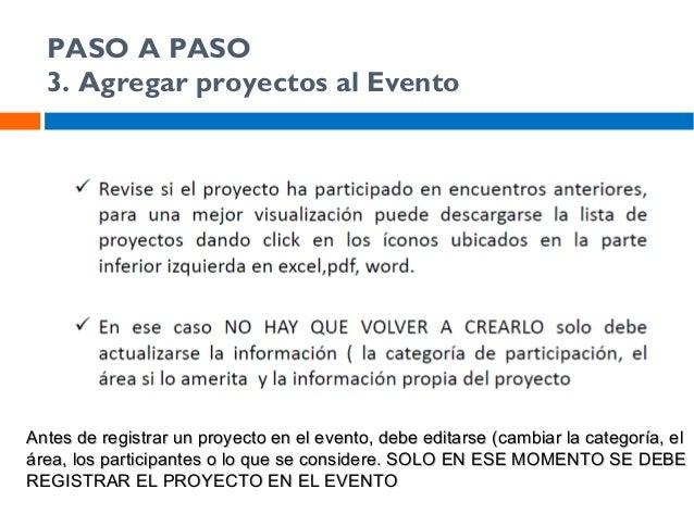 PASO A PASO 3. Agregar proyectos al Evento