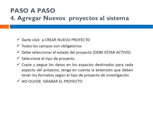 PASO A PASO 4. Agregar Nuevos proyectos al sistema