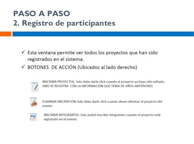 PASO A PASO 4. Registro de participantes