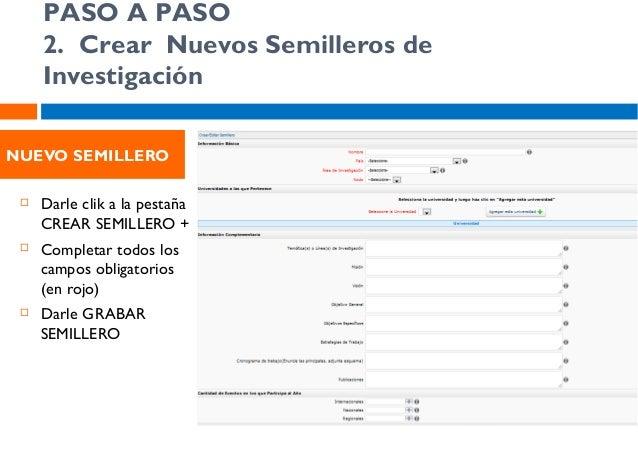 PASO A PASO 3. Crear Nuevos Semilleros de Investigación